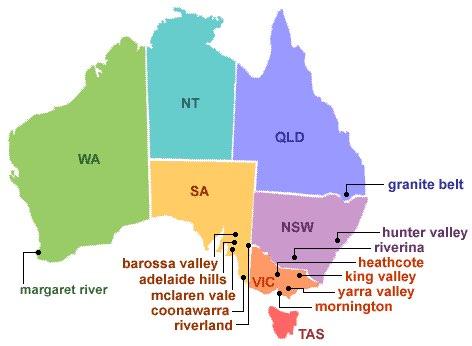 Regiões de Vinhos na Austrália