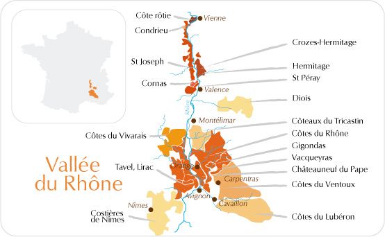 Mapa: Vallee du Rhône